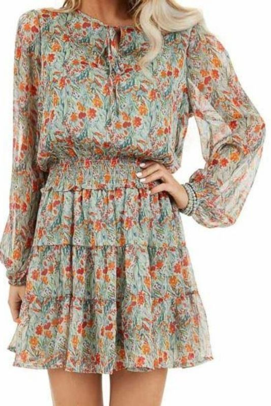Easel Smocked Chiffon Layer Dress - Mint/Tangerine