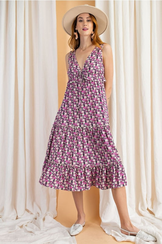 Easel Garden Party Dress - Lilac Combo
