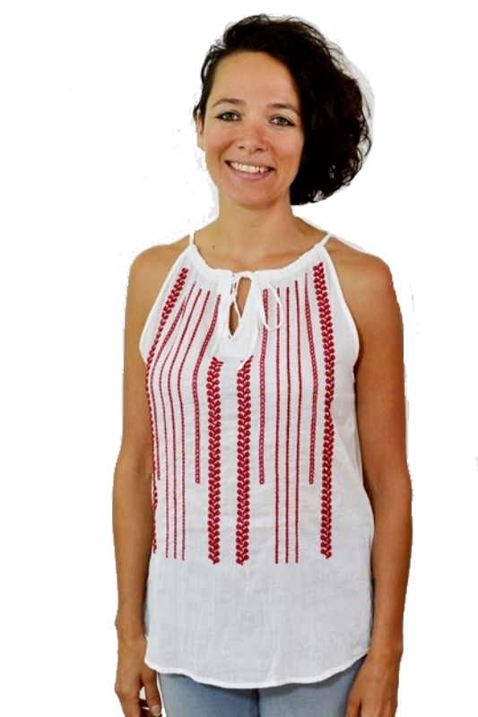 Elan Embroidery Blouse - Red White