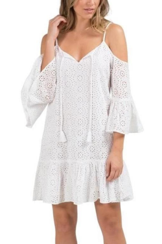 Elan Eyelet Dress - White