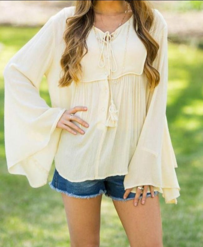 Elan Boho Wide Bell Sleeve Top - Natural