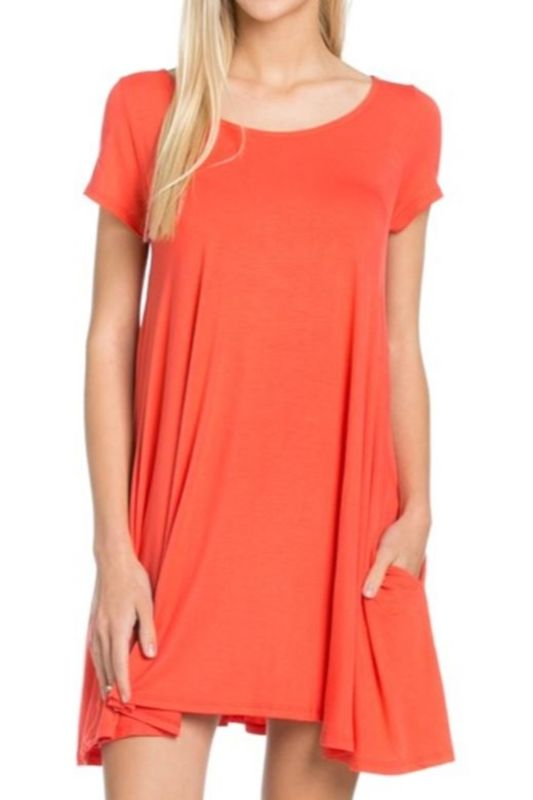 Keep It Simple Cross Back Pocket Dress - Coral