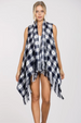 En Creme Flannel Plaid Vest - Navy