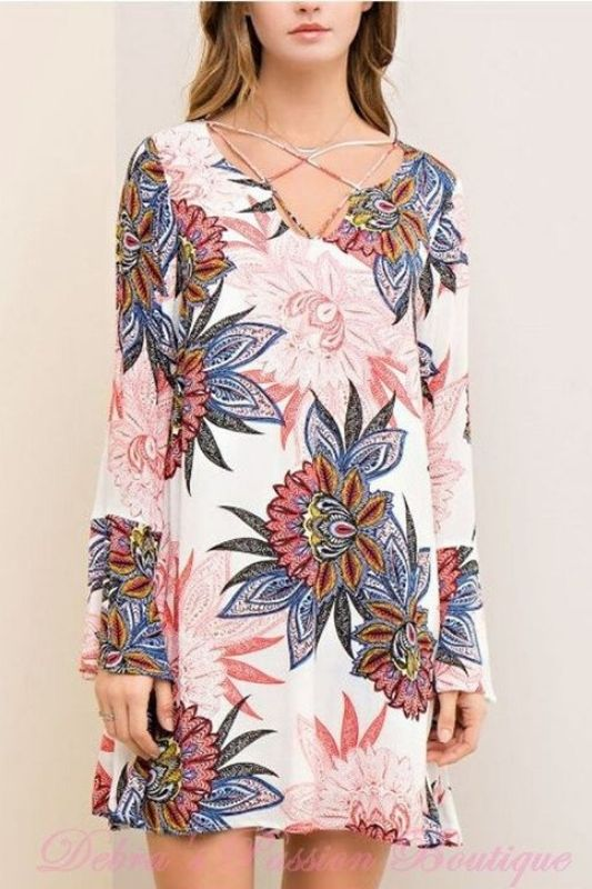 Entro Mod Big Floral Print Dress