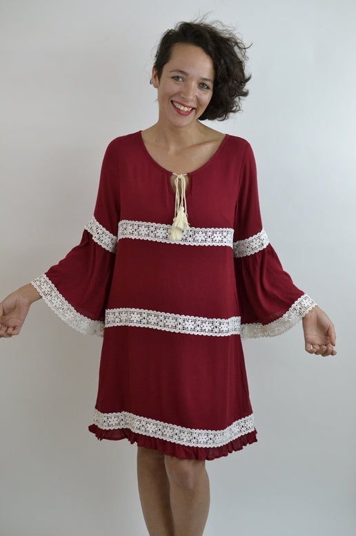 Entro Babydoll Lace Stripes Shift Dress - Burgundy