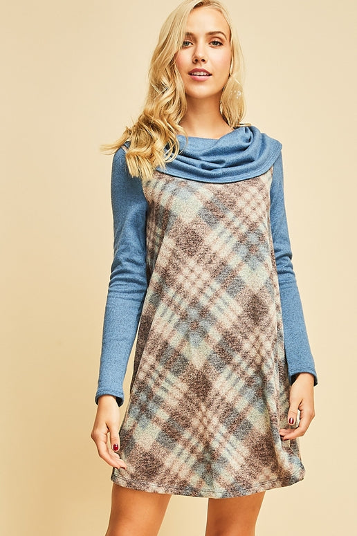 Entro Plaid Cowl Neck Dress - Blue Combo