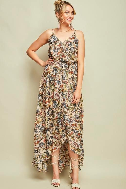 Entro Paisley Hi Lo Dress - Sand