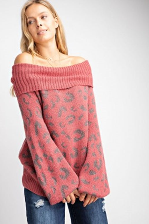 Easel Leopard Pullover Sweater - Marsala