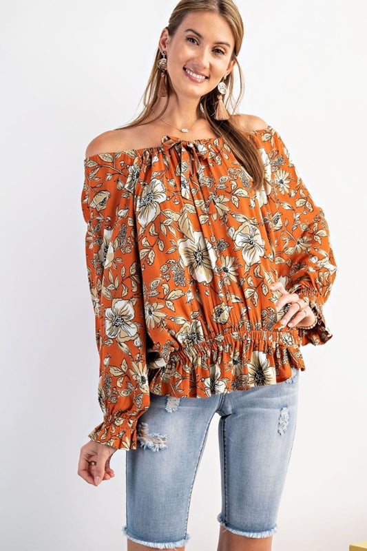 Easel Floral Dolman Blouse - Faded Rust