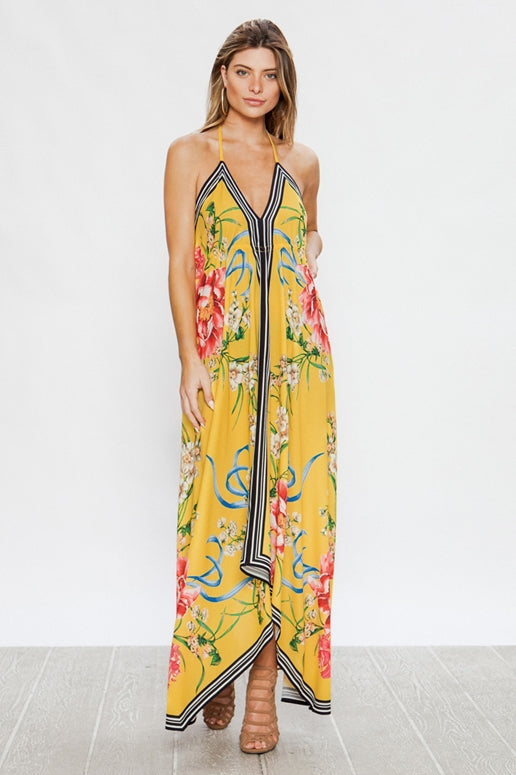 Flying Tomato Floral Handkerchief Dress - Yellow