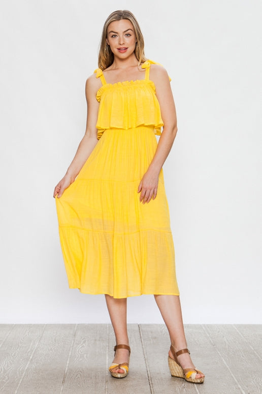 Flying Tomato Yellow Midi Dress