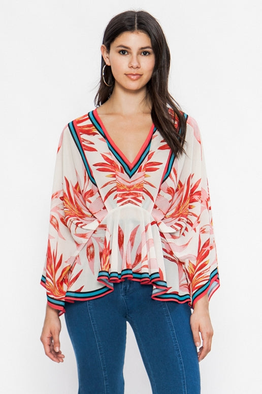 Flying Tomato Tropical Print Kimono Blouse - Red
