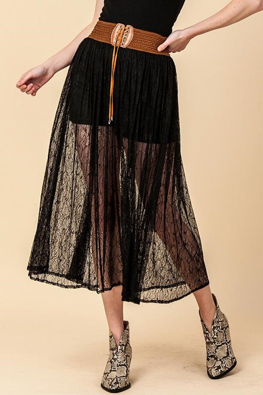 Lace Wide Belt Shorts Skirt - Black