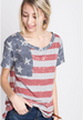 American Girl American Flag Tee Top - Heather Gray