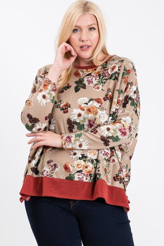 Flower Print Plus Top - Taupe