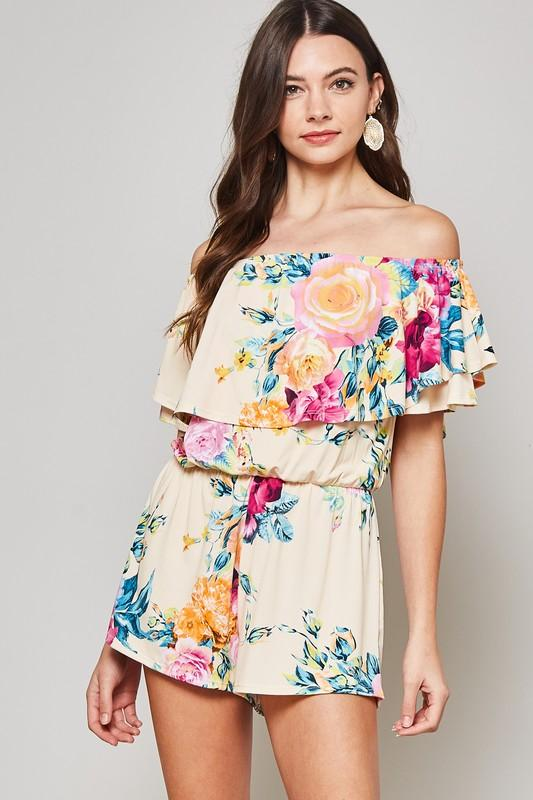 Beeson Babe Romper - Cream Floral