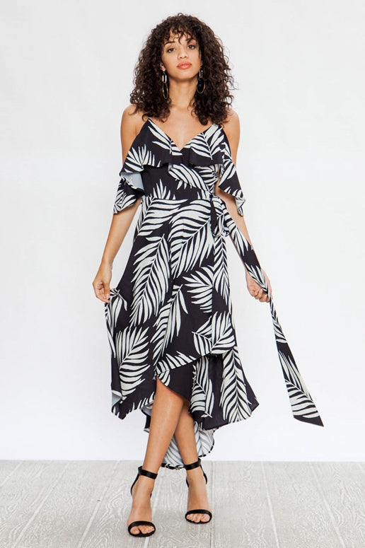 Flying Tomato Leaf Print Dress - Black