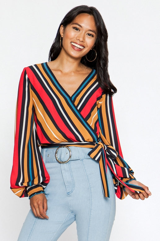 Flying Tomato Striped Wrap Blouse