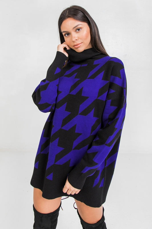 Houndstooth Pullover Sweater Tunic - Royal Blue/Black