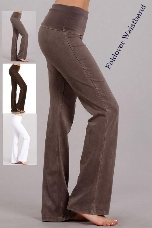 Chatoyant Foldover Waist Bootcut Yoga Pants - New Colors