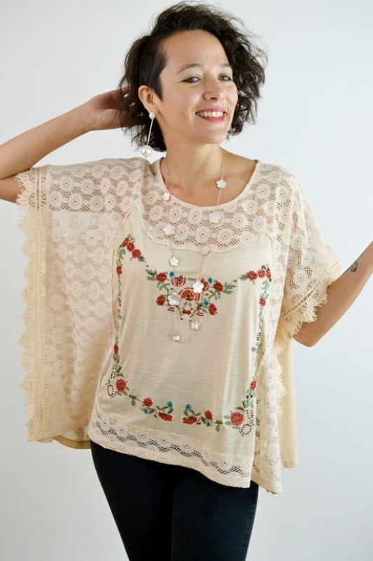 Leslie Embroidery Lacey Blouse - Taupe