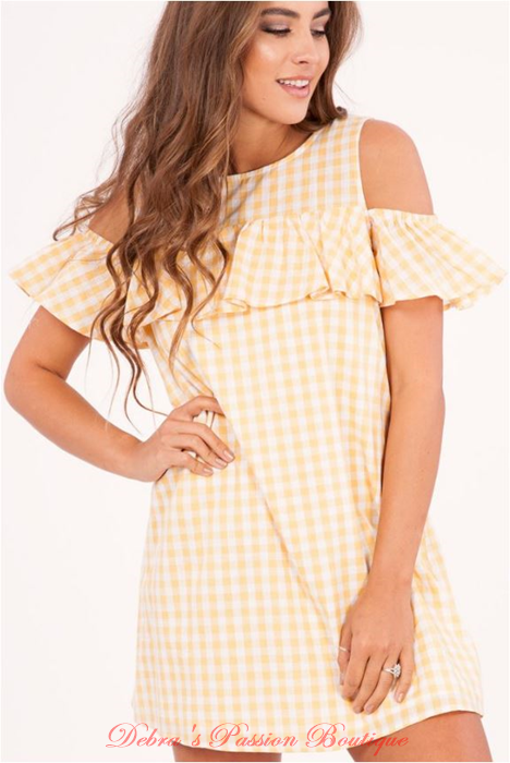 Peach Love Gingham Cold Shoulder Dress - Yellow