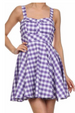 Party Pretty Gingham Plaid Tie Back Dress - Lilac