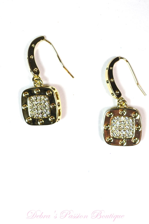 Cube Gold Cubic Zirconia Earrings