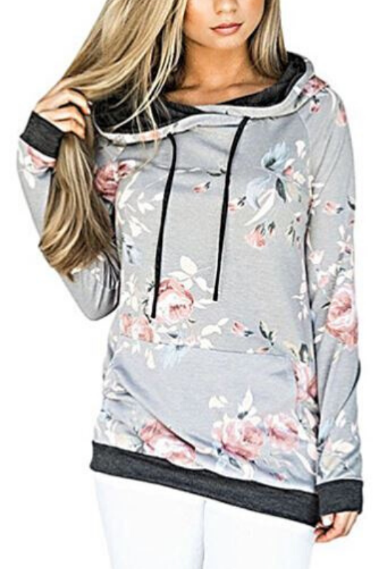 Lightweight Hooded Pullover Top - Gray