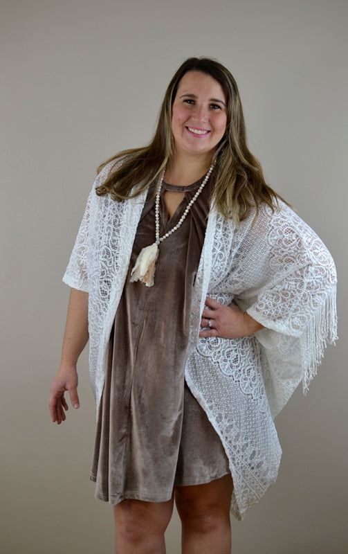 Honey Punch Lace Fringe Shrug Cardigan - Coconut