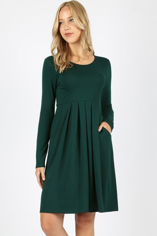Serene Magical Winter Dress - Hunter Green