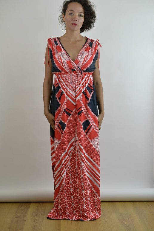 Peachpuff Collection V Neck Maxi Dress-Red