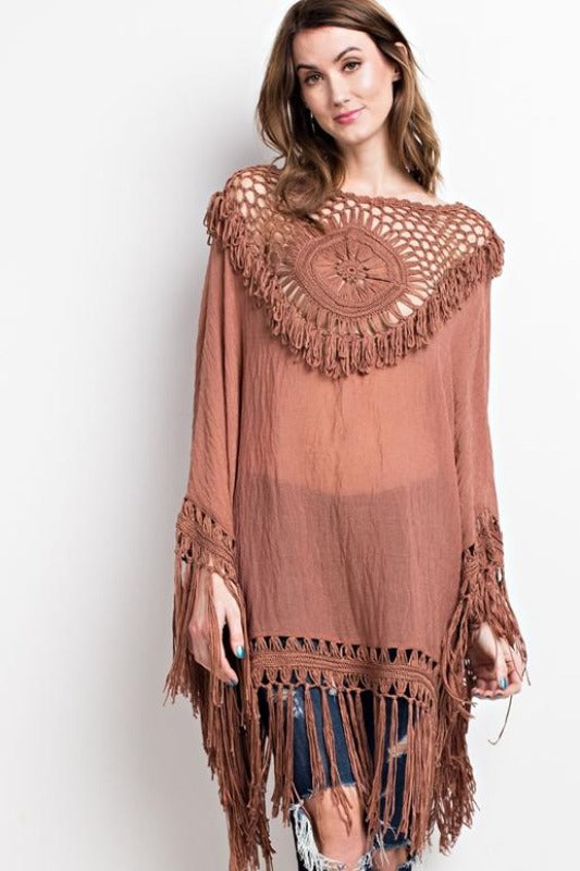Easel Statement Crochet Fringe Poncho - Dried Rose