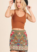Umgee Embroidered Pom Pom Skirt - Olive