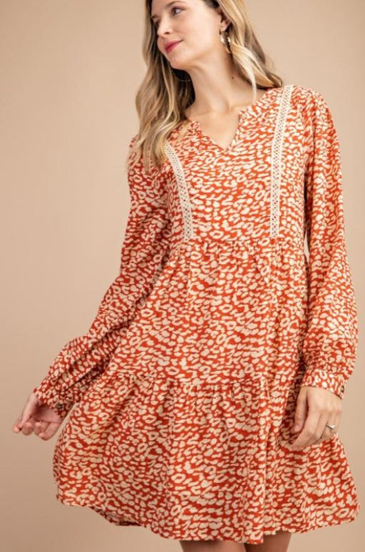 Kori Animal Print Dress - Rust