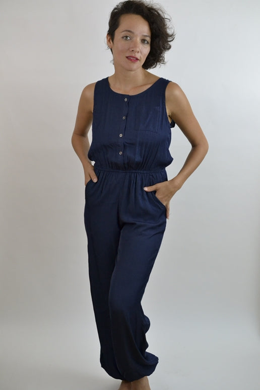 LLove Easy Living Silk Shine Jumpsuit - Navy