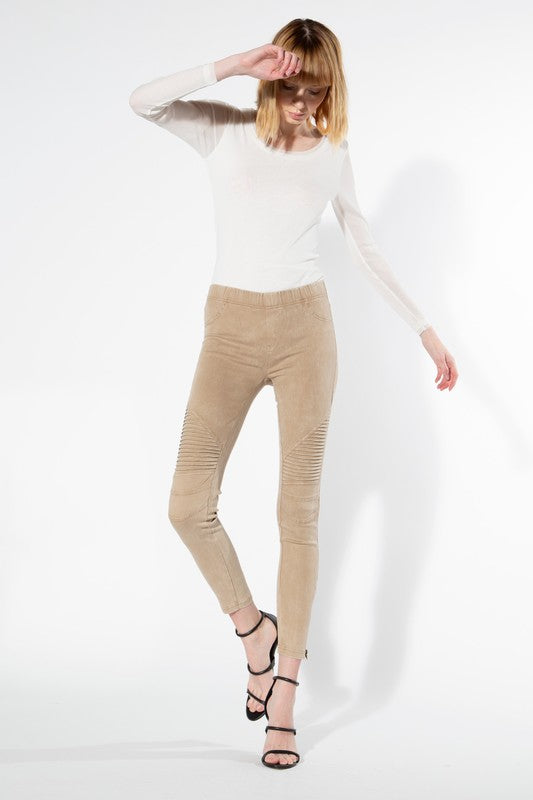 Moto Zipper Leggings - Khaki