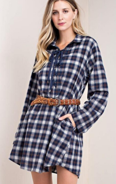 Kori Lace Up Plaid Dress Navy Debra S Passion Boutique