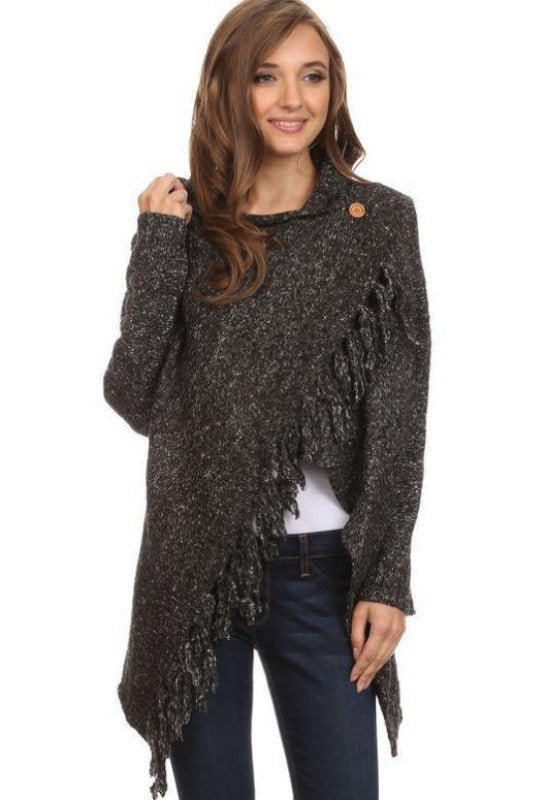 Fringed Shawl Sweater with Button - L & B - Charcoal - Debra's Passion Boutique