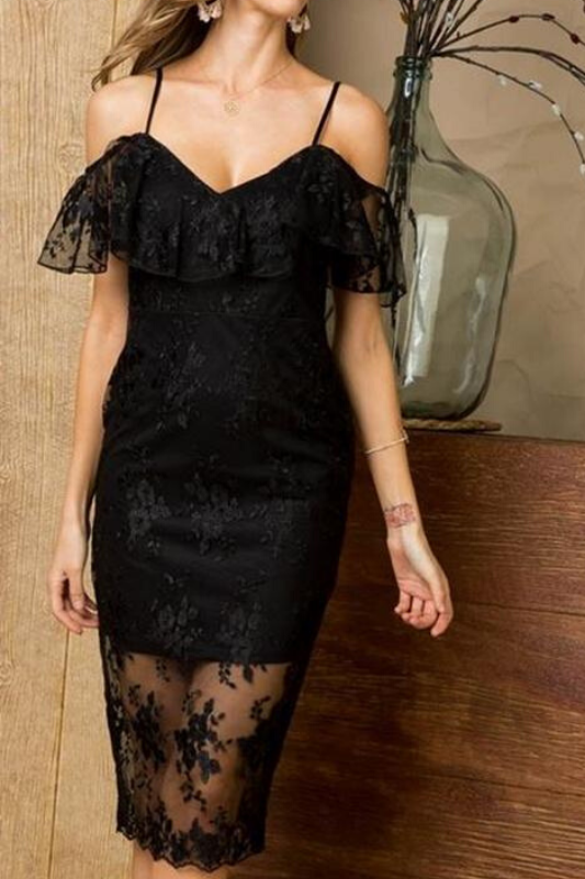 Lady Elegant Black Bodycon Ruffle Dress