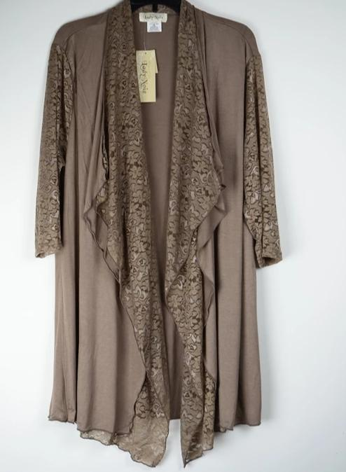 Lady Noiz Lace Drape Layer Long Cardigan -Mocha