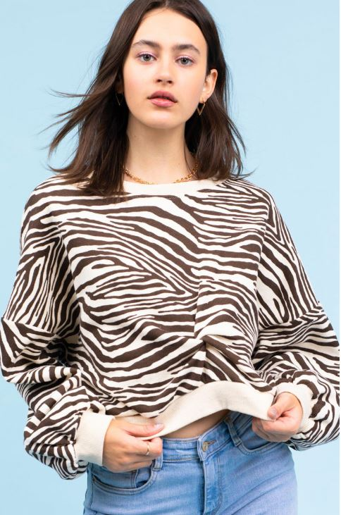 Crop Twist Zebra Sweatshirt
