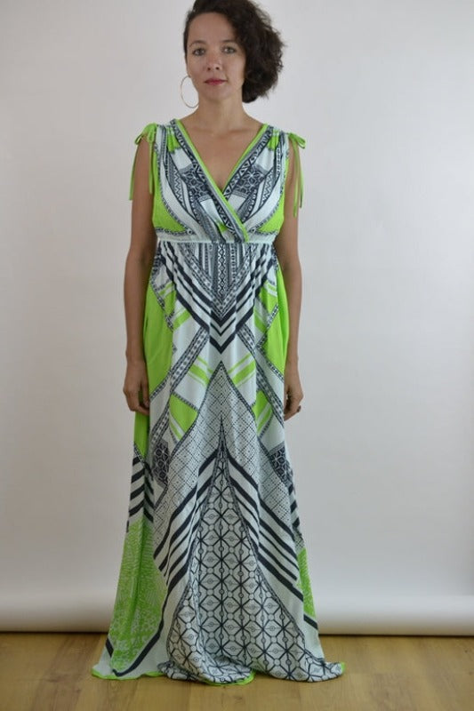 Peachpuff Collection V Neck Maxi Dress - Lime