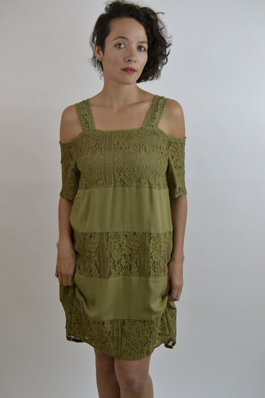 LLove Lace Panel Shift Dress - Olive Green