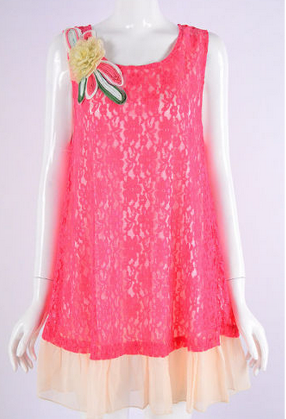 Lady Noiz Plus Lace Tunic Ruffle Hem & Flower Applique - Coral - Debra's Passion Boutique - 1