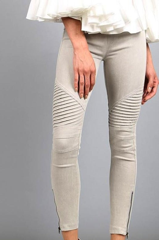 Beulah Moto Zipper Legging Jegging - Light Gray