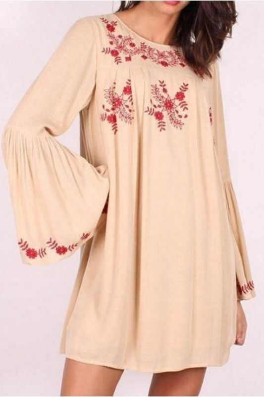 Lunik Embroidered Bell Sleeve Tunic Dress -Beige