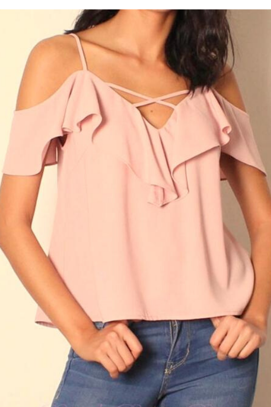 Lunik Cold Shoulder Ruffle Crop Top - Dusty Pink