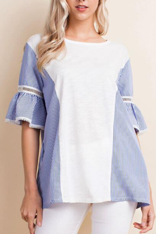 LLove Mixed Fabrics Ruffle Sleeves Top - Off White