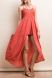 LLove Lace Up Embroidered Eyelet Romper Maxi Skirt - Persian Red